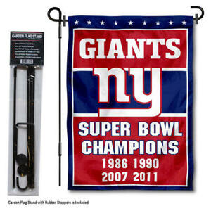 New York Giants 4 Time Champions Garden Flag and Yard Stand Included