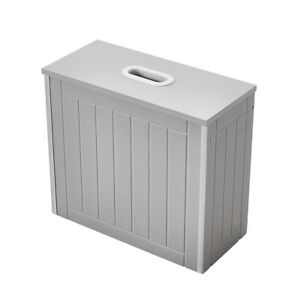 Slimline Grey Bathroom Storage Box Toilet Roll Cleaning Tidy Storage Cabinet