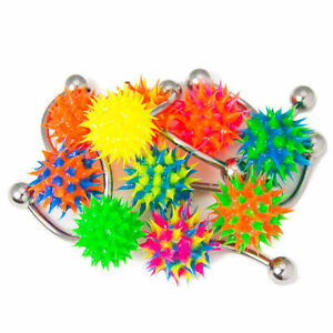 Spike Belly Button Rings Silicone Bottom Balls Multi-Color 6pc 14g