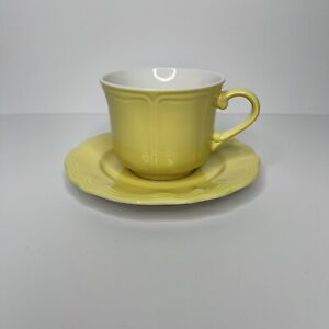 Federalist Buttercup Ironstone Teacup Saucer Coffee Oven Proof Vintage MCM