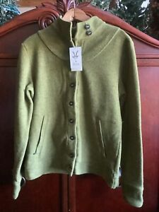 NWT IBEX Women's Carrie Button Up Green Merino Wool Sweater Jacket Green Large L