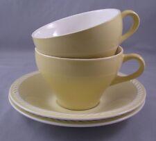 Vintage Figgjo Figgio Norway Sissel Yellow Cup & Saucer 4 pc Set Ragnar Grimsrud