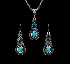 Silver Turquoise Tribal Festival Bead Charm Boho Crystal Necklace Earrings Set