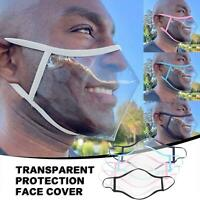 Face Mask Protective Covering Mouth Masks Anti-Fog Reusable Transparent Durable