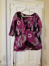 A.N.A. A NEW APPROACH Size 1X Women's Shirt Blouse 3/4 Sleeve  Cotton Top Floral