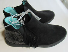 CAT & JACK Girl's Ankle Boots Black Glitter & Fringe Child's Size 4 New W/Tags