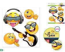 EMOJI 3D POP-UPS wall stickers 4pcs w/glitter kid decor phone text face EMOTICON