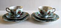 Vintage Pair 3pc Sets 6pc Lusterware Porcelain Teacups & Saucers Courting Scenes