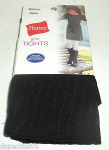 "Hanes Filles' Collant Noir Taille M 48-55 "" 55-72 Lbs. Neuf Cardé"