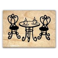 Paris Cafe Table, French mounted rubber stamp, France #22