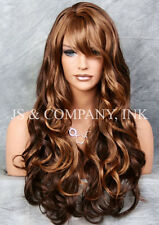 STRIKING! Long Wavy Curly bangs Brown Auburn blonde mix Layered Wig win 27-4-30