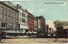 Antique POSTCARD c1912 Front Street WORCESTER, MA MASS.
