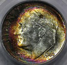 1946 Roosevelt Dime Superb GEM BU PCGS MS-67... with Vivid Rainbow Toning, NICE!