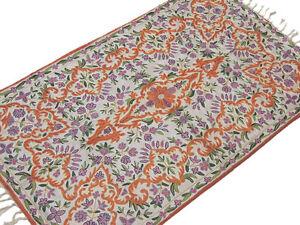Kashmir Silk Embroidered Rug Traditional Wall Carpet Floral Design Art Tapestry