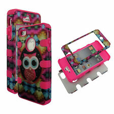 Pink Colorful Owl Hybrid 3 in1 Apple  Iphone 4 4S Case Hard Cover Faceplate
