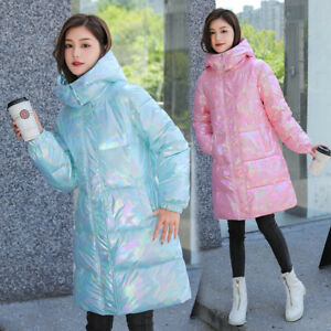 2021 New Long Hooded Shiny Women's Down Cotton Jacket Disposable Cotton Jacket