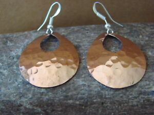 Navajo Indian Hand Stamped Hammered Copper Earrings by Douglas Etsitty