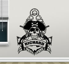 Custom Name Wall Decal Anchor Pirate Personalized Vinyl Sticker Mural 19thn