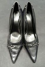 Dorothy Perkins Black Heels Size 6 3 Inch Heel Pointed Toe Buckles Metal <C2422