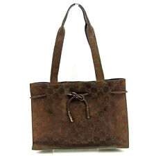 Gucci Tote bag G logos Brown Silver Woman Authentic Used Y5966