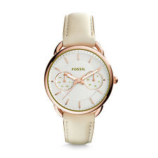 NWT Fossil Women's Tailor White Rose Gold Tone Leather Strap Watch 35mm ES3954