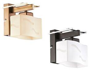 MODERN WALL LIGHT - CHROME / WENGE BROWN & GOLD / BRASS GLASS SHADES - REGA SONA