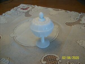 Westermore Vtg White Milk Glass Cover Pedestal Compote Grape Pattern Candy Dish