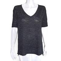 Minnie Rose Charcoal Gray Linen Blend Short Sleeve Semi Sheer Knit Top XS/S 4903