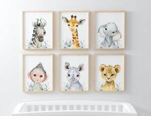Animal Safari Children's Elephant Zebra Picture Set Nursery Print Gift UNFRAMED