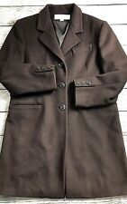 LIZ CLAIBORNE WOMEN'S Dark Brown WOOL Jacket LONG WINTER COAT SIZE 8 220$