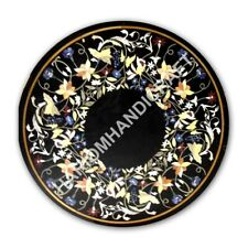 """24"""" Black Marble Coffee Top Round Table Floral Fine Marquetry Decor E1068A"""