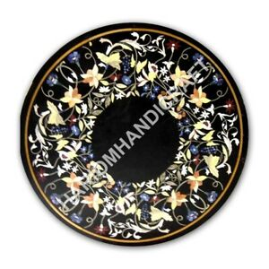 2' Black Marble Coffee Top Side Table Floral Fine Marquetry Inlay Decors E1068A