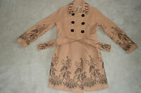 Moschino Brown Floral Embroided Double Breasted Wool Trench Coat Women UK 14 US8