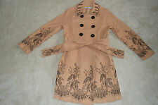 Moschino Embroided Floreale Marrone Doppio petto Lana Trench Donna UK 14 US8