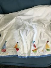 Pottery Barn Kids Six Little Sailboats Crib Skirt Dust Ruffle White Blue Boats