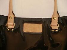 Kate Spade Black Patent Leather w/Tan Double Handles Tote Large EUC