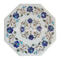 """12"""" Lapis Floral Inlay Art White Marble Side Coffee Table Top Kitchen Decor W275"""