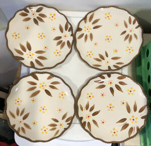 """Temptations By Tara Old World 8"""" Brown Plate Set of Four Ovenware ppphld832940"""