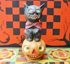 Bethany Lowe Halloween Bowtie Black Cat on Jack O'lantern