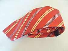 Tommy Hilfiger Red With A Yellow / Gold and Blue Stripe Design Silk Mens Tie