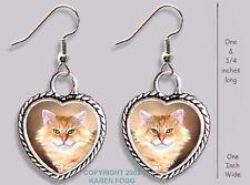 TABBY ORANGE Longhair Persian Maine Coon Cat -HEART EARRINGS Ornate Tibet Silver