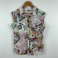 Yarra Trail Womens Blouse Size 12 Multicoloured Abstract Sleeveless Collared
