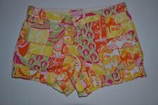 LILLY PULITZER PINK YELLOW GREEN FLORAL SHORTS WOMENS SIZE 8