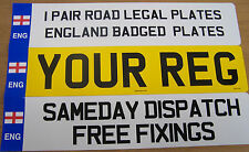 CAR NUMBER PLATES 1 PAIR ENG REGISTRATION PLATES WITH GEORGE CROSS