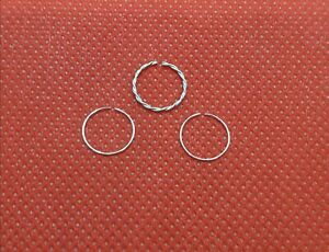3 X Solid 925 Sterling Silver Twisted Nose Rings 0.4mm Thin Piercing