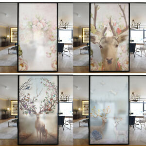 Static Cling Frosted Stained Glass Sticker Deer Europea Window Door Film Privacy
