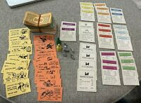 Vintage 1936 MONOPOLY GAME Cards Money Wood & Metal Tokens Parker Brothers Inc.