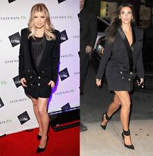 BALMAIN x H&M Black Wool Satin Lapels Tuxedo Twill Jacket Blazer Dress EUR 40