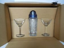 JOE CAMEL ADVERTISING: CAMEL ETCHED  MARTINI GLASSES AND SHAKER SET  BRAND NEW
