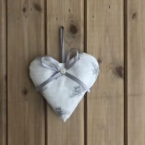 Bumble Bee Heart Door Hanger, Lavender Filled, Off White And Grey Linen, Cottage